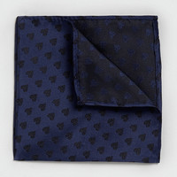 Navy Heart Print Pocket Square - Topman