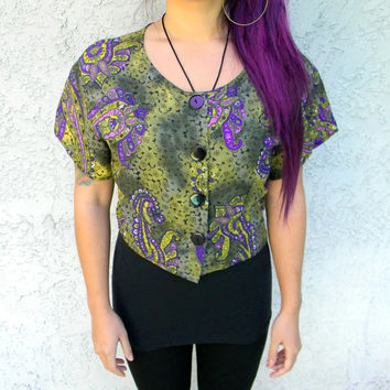 Vintage late 80s early 90s Paisley Crop Top Blouse - Short Sleeved Erica Simone Designer Shirt, Medium M Large L, Prince meets Jimi Hendrix