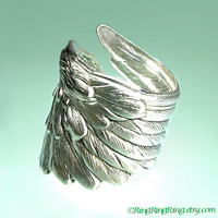 925 Detailed Angel Wing ring -  feather ring, Sterling Silver ring jewelry, for men and women 091012