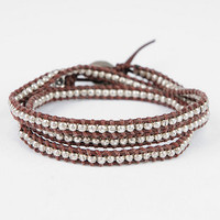 M. Cohen Wraparound Sterling Silver and Leather Ladder Bracelet $363