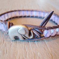 Pink beaded leather wrap bracelet, &quot;Baby Elephant&quot;, baby pink opal, distressed gray leather, lucky charm, boho chic