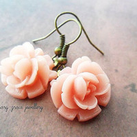 Pink Rose Drop Earrings, Antique Gold