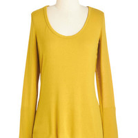ModCloth Mid-length Long Sleeve Moments of Intrigue Top in Goldenrod