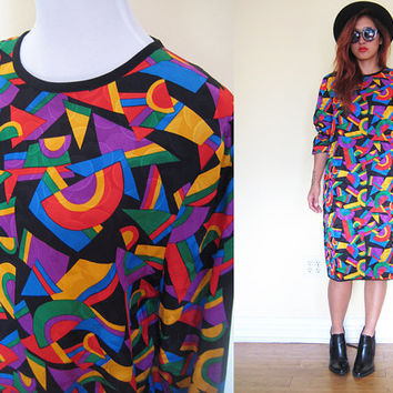 Vintage 80's shift dress multicolor print abstract pop art long sleeves oversized party cocktail