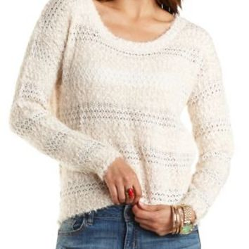 Fuzzy Striped Pullover Sweater by Charlotte Russe - Ivory