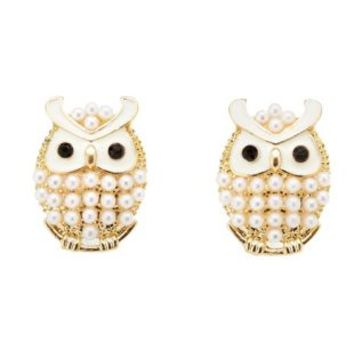 Pearl & Lacquer Owl Stud Earrings by Charlotte Russe - Gold