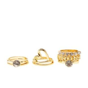 Heart & Rhinestone Stackable Rings - 7 Pack by Charlotte Russe - Gold