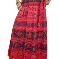Mogul Wrap Skirt- Red Printed Indian Skirts Womens Beach Wrap Around India Clothing