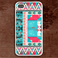 iPhone 4 Case, iPhone 4s Case, iPhone 4 Hard Case, Aztec Pattern white iPhone Case