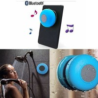 MEMTEQ® Portable Waterproof Bluetooth V3.0 + EDR Shower Speaker Handsfree Speakerphone with Suction Cup Suitable for Car, Bedroom, Wash Room, Kitchen, Office, Conference, Business Trip, Vacation Etc (BLue)