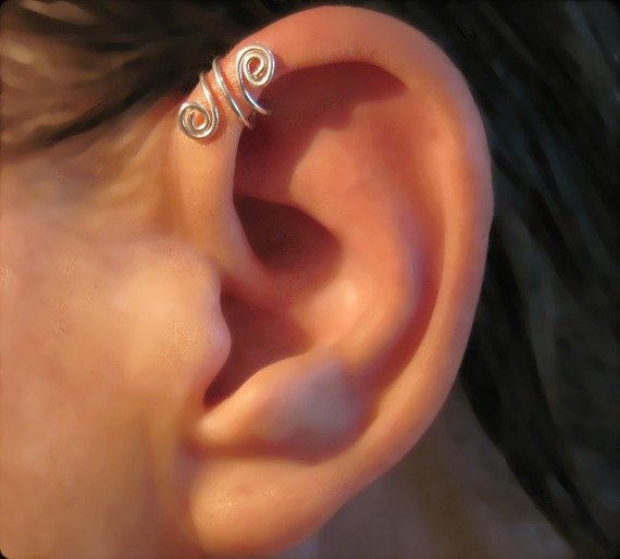 "No Piercing Sterling Silver Handmade Helix Cuff Ear Cuff ""Spiral Up"" 1 Cuff"