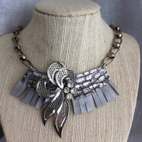 Silver Leather Fringe Necklace with Rhinestone Accents