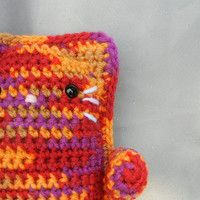 Amigurumi Kitty Crochet Doll Red Orange and Purple