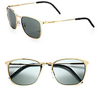 Saint Laurent - Stainless Steel Square Sunglasses - Saks Fifth Avenue Mobile