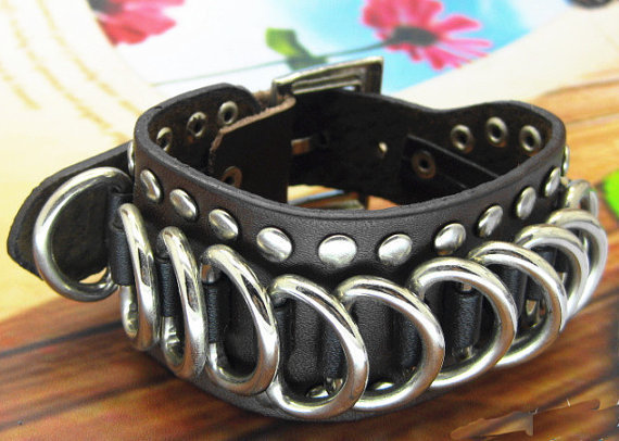 Punk Rock Style Women Chocolate Leather Bracelet Women Jewelry Bangle Men Leather Bracelet  1275A-CO