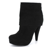 Ankle Boots | Trendy Sexy Cuffed Platform Ankle Boots in Black Vegan Suede