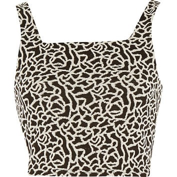 River Island Womens Black and white jacquard square neck crop top