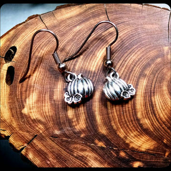 Handmade Freshly Picked Pumpkin Earrings On Surgical Steel Hooks In Antique Silver Harvest Hypoallergenic Jewelry