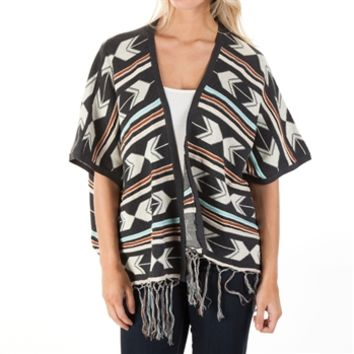Double Zero Juniors Printed Cardigan with Fringe at Von Maur