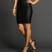 Black Day To Night Coated Skirt