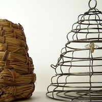 Two Vintage Bee Hives Wire and Straw by WillowCreekSparrow on Etsy