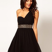 Little Mistress Embellished Waist One Shoulder Dress at asos.com