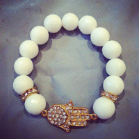 Gorgeous Gold Hamsa Bracelet with White Faceted Beads