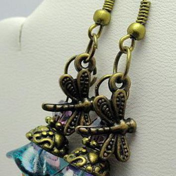 Dragonfly Wishes Earrings  by EveblueBeadery on Zibbet