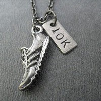 RUN YOUR DISTANCE 5K, 10K, HALF MARATHON, MARATHON - Choose 5K, 10K, 13.1, 26.2 - Nickel and pewter pendants on Gunmetal Chain