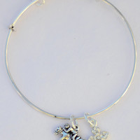 Bless This Equestrian Charm Bracelet: Jumping Horse Charm + Cross - Hand Stamped Personalized Monogram Charm Options=NOT Alex and Ani-Custom