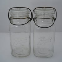 Ball Ideal Quart Clear Glass Jar Wire Closure Set Of 2 c 1920s