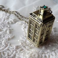 1- Tardis Phone Booth Necklace 3D 4 Sided Time Lord Time Travel Finished Necklace Bronze Green Rhinestone Finished Doctor Who Necklace
