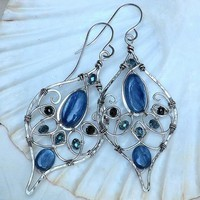 Rare Black Spinel and Kyanite Artisan Wire Wrapped Earrings Sterling