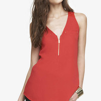 POCKET AND ZIP CREPE FRONT TANK from EXPRESS