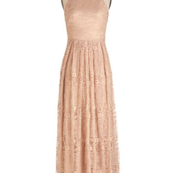 Eva Franco Pastel Long Sleeveless Maxi With Style and Lace Dress