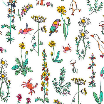 Liberty Tana Lawn Fabric - Liberty Japan - Cute Flower & Bird, Alice Theo White - Liberty Print  Cotton Scrap, Quilting Patchwork - NT15SS32
