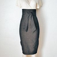 High Waist Pencil Skirt Womens Clothing in Black & Gold Pinstripe Denim Custom Made