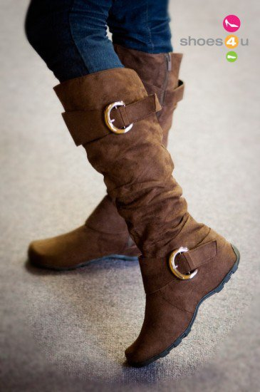 Valley-11 Brown Buckle Slouchy Knee High Boot - Shoes 4 U Las Vegas