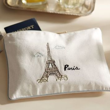 PARIS EMBROIDERED POUCH