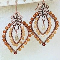 Rare Hessonite Garnet Copper Wire Wrapped Artisan Earrings Rutilated