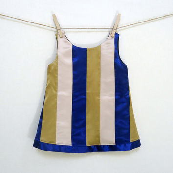 Girls Satin Holiday Dress Tunic Stripe Modern Blue Gold Beige Christmas 3T 4T