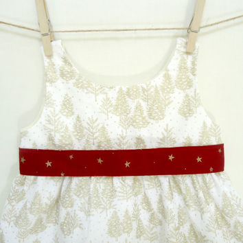 White Christmas Dress Jumper 2T 3T Gold Glitter Pine Trees Stars Red Holiday