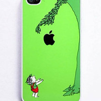iPhone 4 and iPhone 4s Case Cover ,green  tree with an apple
