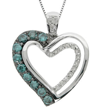Silver Sky Blue Diamond Love Locked Heart Necklace Steven Singer Jewelers