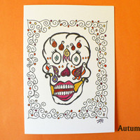 Alternative / Folk - Skulls - Autumn - Dia de los Muertos / Day of the Dead Blank Greeting Card w / envelope - Recycled Paper - IntricateKno