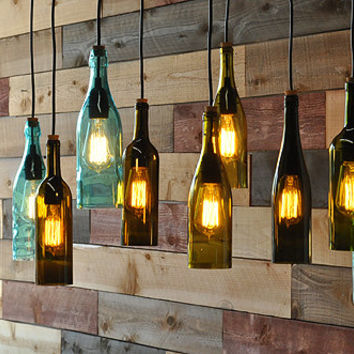Recycled bottle chandelier - The Napa