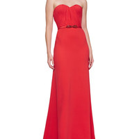 Strapless Sweetheart Gown & Floral Crystal Satin Belt, Tomato