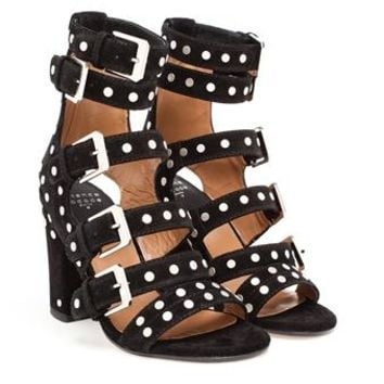 LAURENCE DACADE   Suede Studded Sandals with Five Straps   Browns fashion & designer clothes & clothing