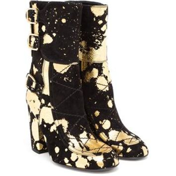 LAURENCE DACADE   Suede Merli with Gold Paint Spatter   Browns fashion & designer clothes & clothing