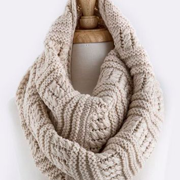 cozy knit infinity scarf oatmeal - one size / oatmeal